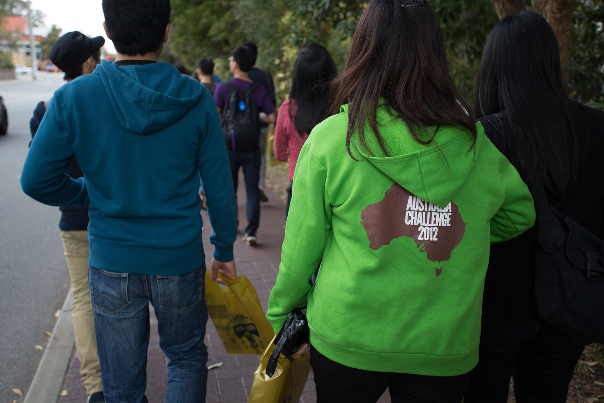 On our way to class featuring our Shrek green hoodies!
