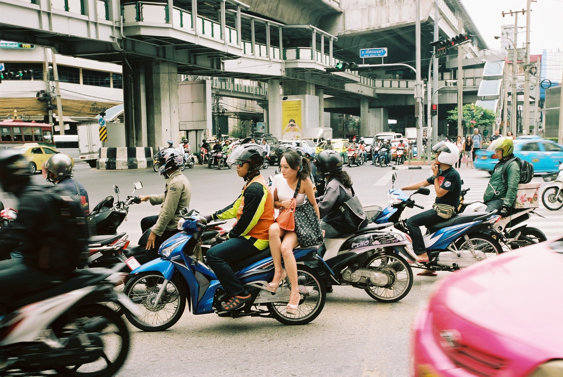 Portra 160 | Motorcycle taxis!! Fastest way to get around the city as bikes can weave through the traffic jams.