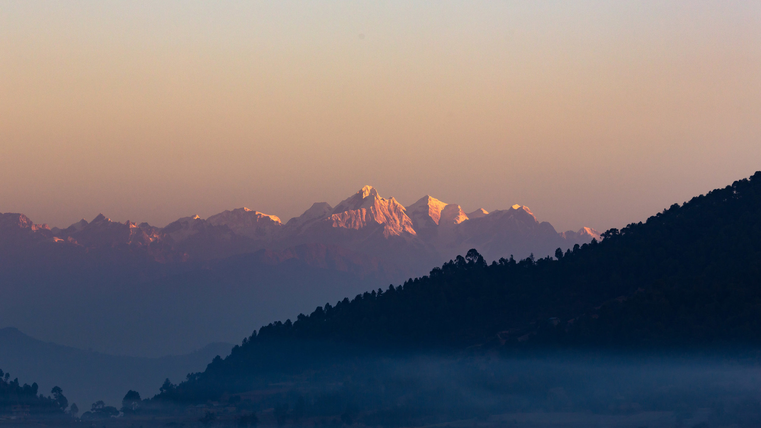 Morning view of the Himalayas from the rooftop of our guest house