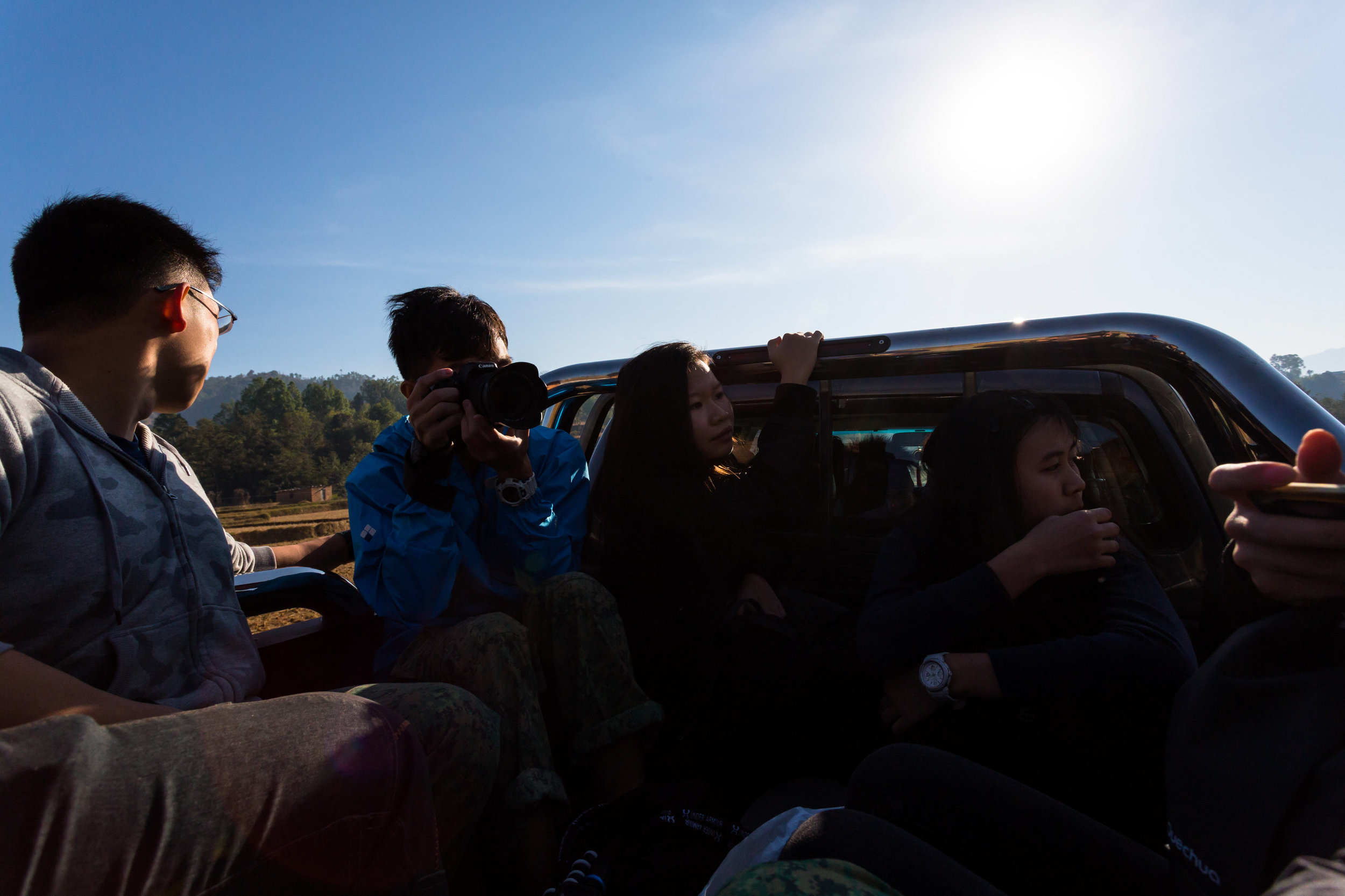 This is probably the only photo where all of us sat down for the ride