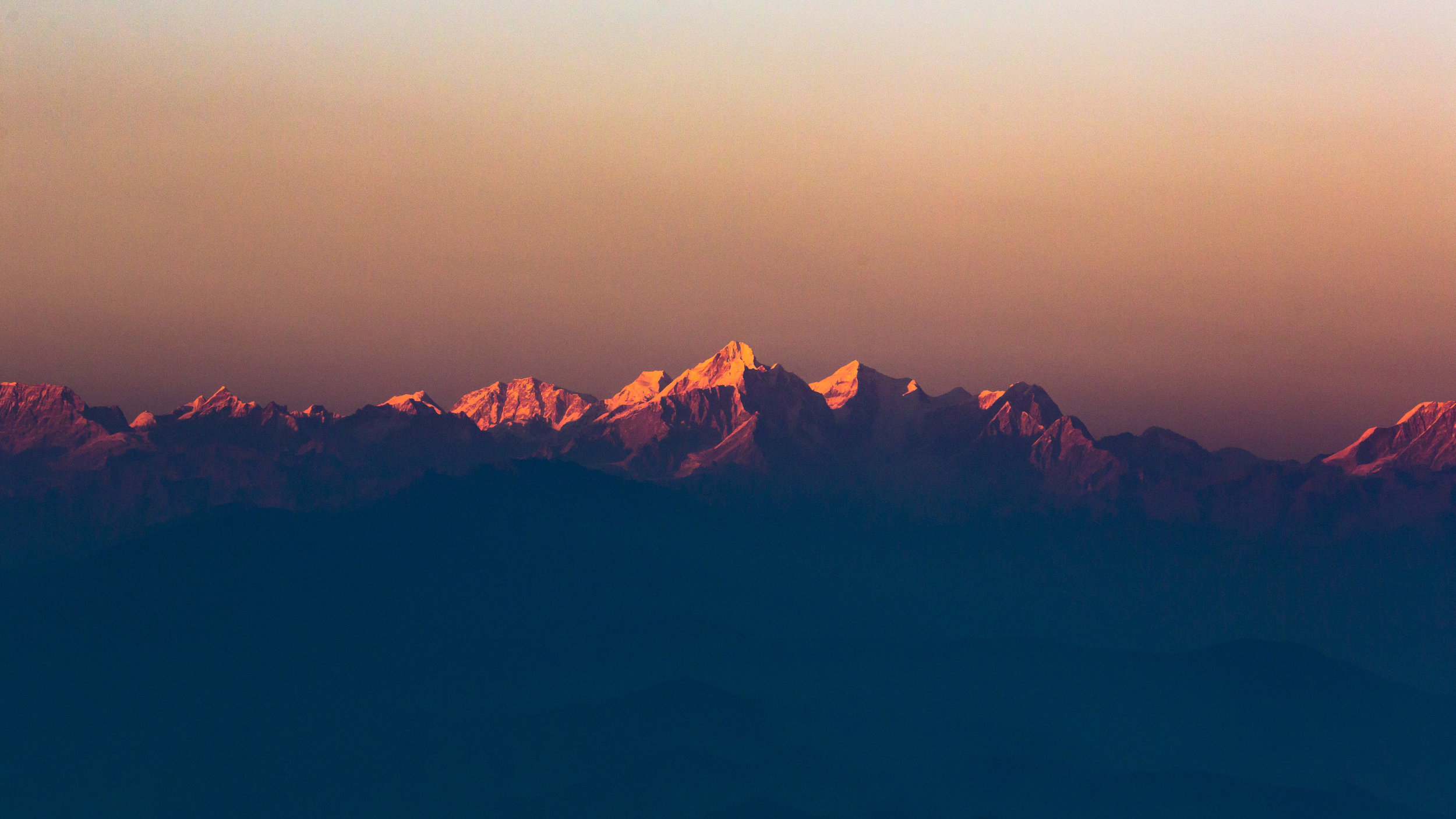 There's a very nice glow to the snow capped Himalayas during sunrises and sunsets