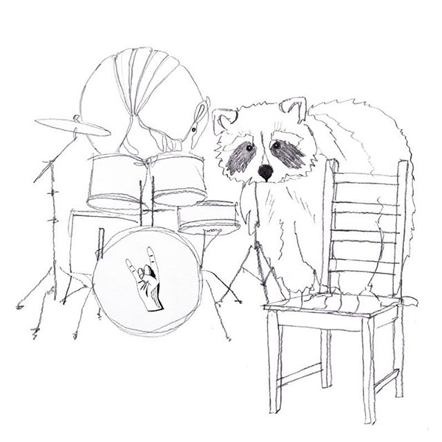 """Full disclosure: I don't care much for Valentine's day, I think it's a silly and tacky """"tradition"""". But I'm not a heartless person, so here you go: a racoon on a chair and an armadillo on a drum set! Have an amazing day, good people:) 💋 from Louise, the racoon and the armadillo (playing at a venue near you any day now). #a_mile_in_the_woods #amileinthewoods #AMITW #drawing #handmade #graphicdesign #design #craft #interior #decoration #copenhagen #denmark #ink #homedecor #københavn #work #louisehaugaardnielsen #illustration #architect #sketching #visualstorytelling #visualartist #stories #people #armadillo #valentinesday #racoon #yay"""