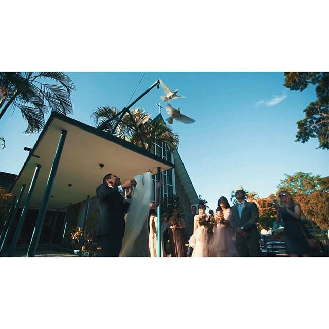 The release of white doves. This represents the bride and groom as they begin their life's journey together in purity and with no regrets of their past.  Beautiful! - - -  #wedding #weddingday #weddingfilm #loveauthentic #realwedding #justmarried #framegrab #pampangaweddings #manila #manilaweddings #itheewed #itheewedbyfuguwi