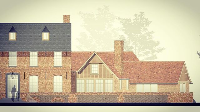 Residence M. - project in U.K. , part of mainhouse and lower side wing , placed on flintstone and red brick wallbase #BDC