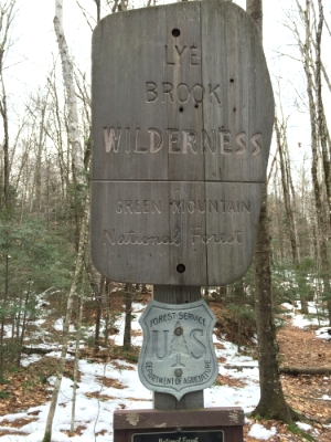 3rd sign pointing to the Lye Brook Wilderness