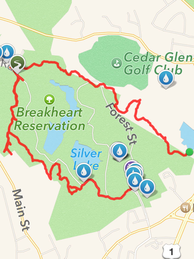 Map of the Saugus River Trail to Ridge Trail Loop.