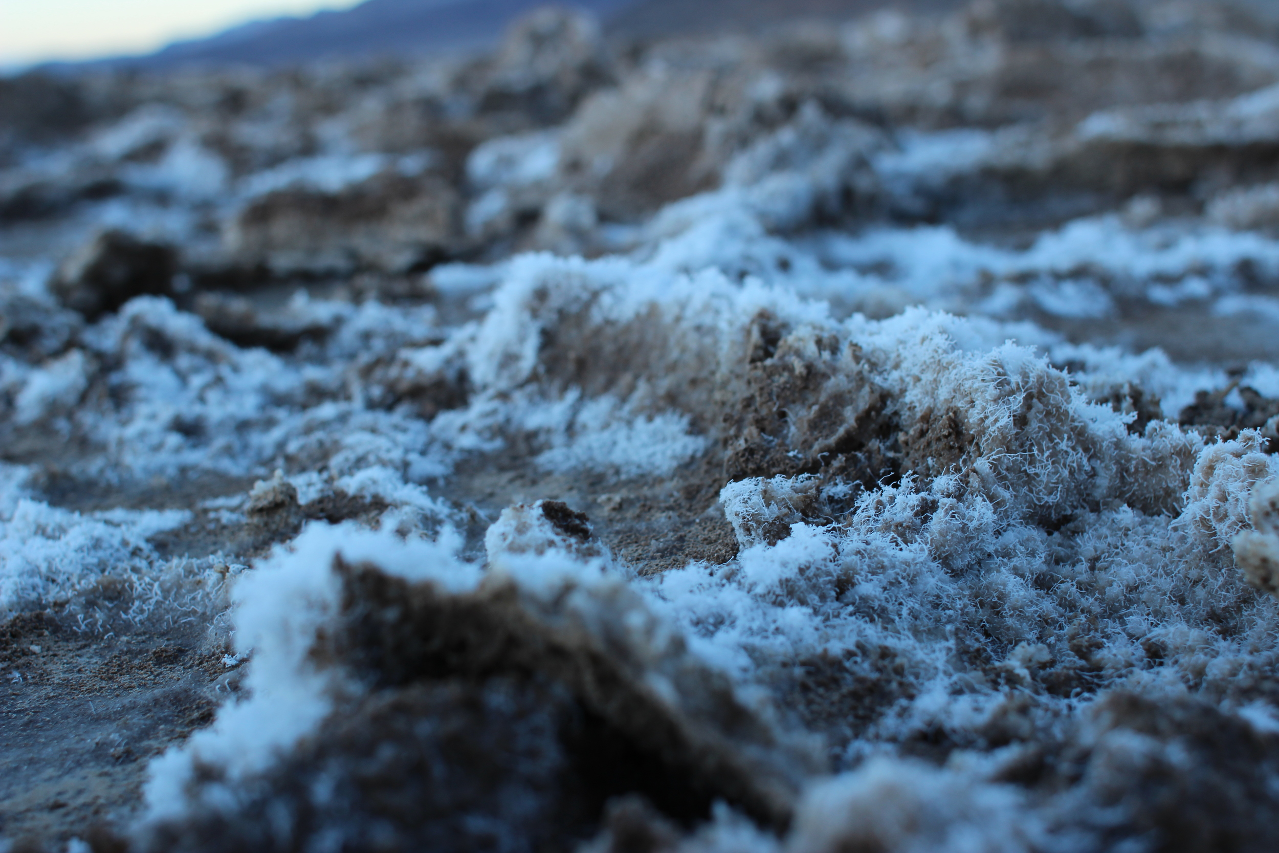A close-up of the salt at Badwater Basin.