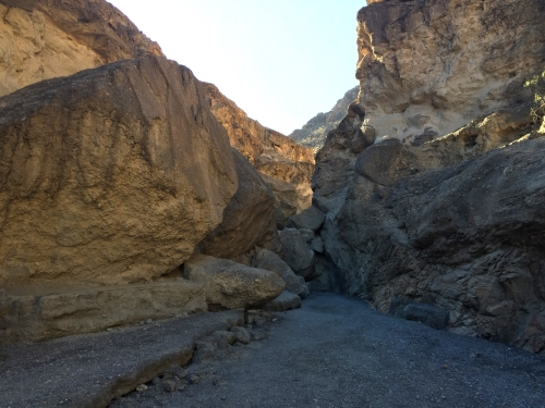 Road block at Mosaic Canyon in Death Valley National Park. Head to the left!