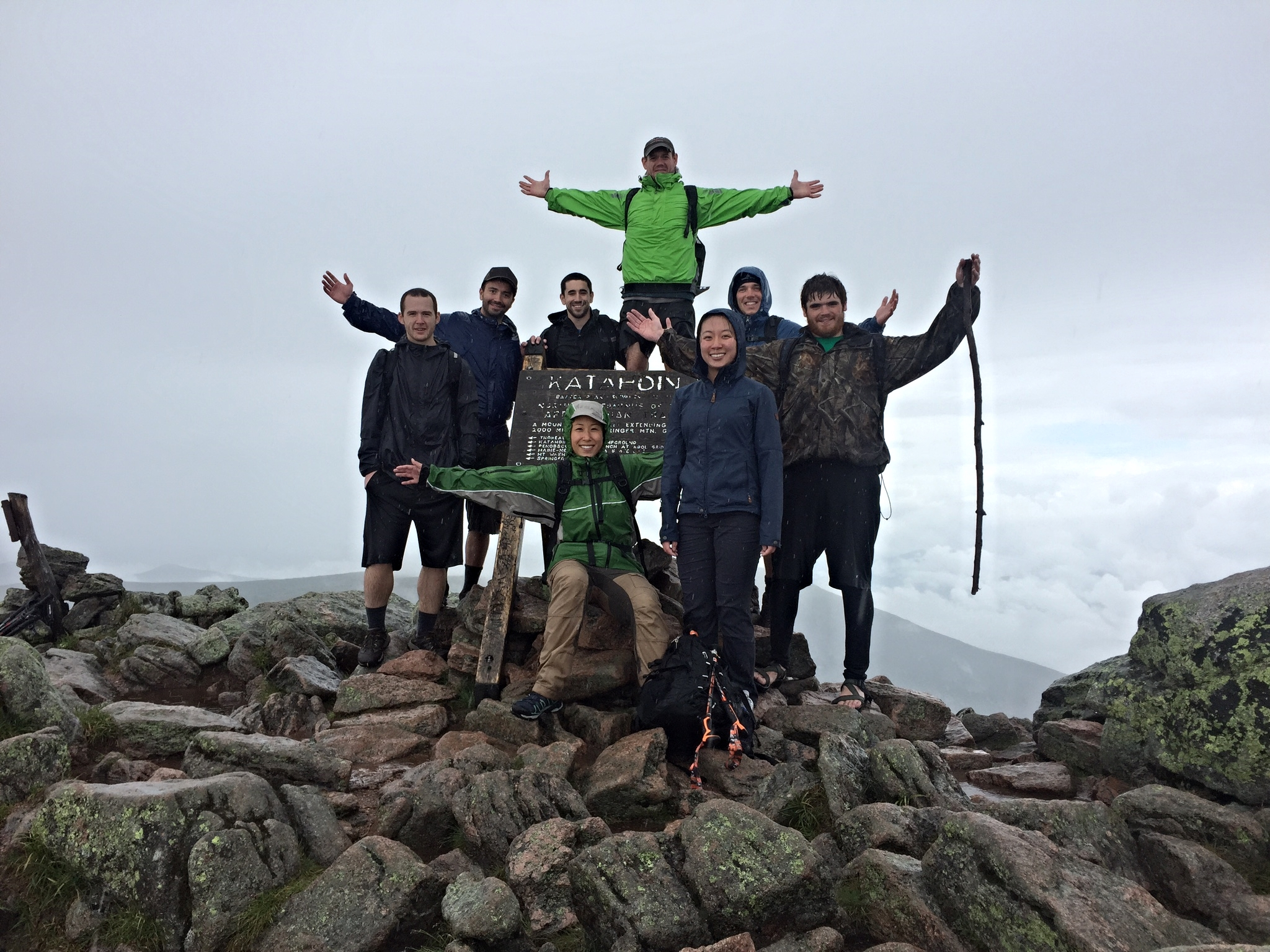At the summit of Mount Katahdin in Baxter State Park. This is the terminus of the Appalachian Trail!
