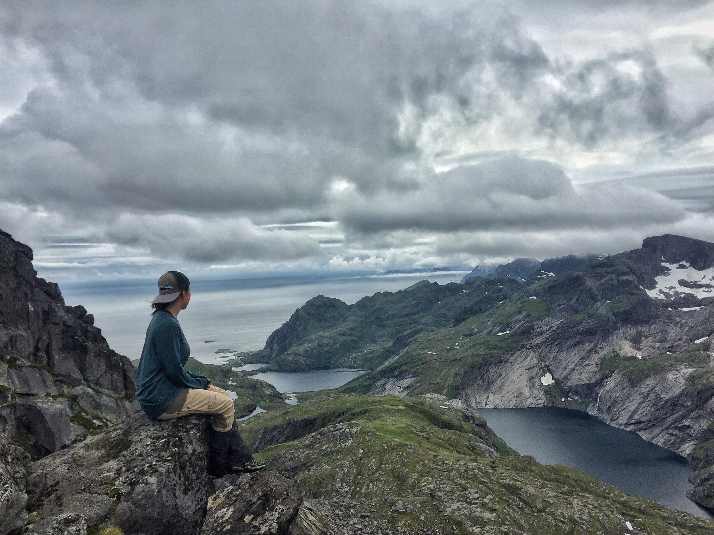 On top of Munken in the Lofoten Islands