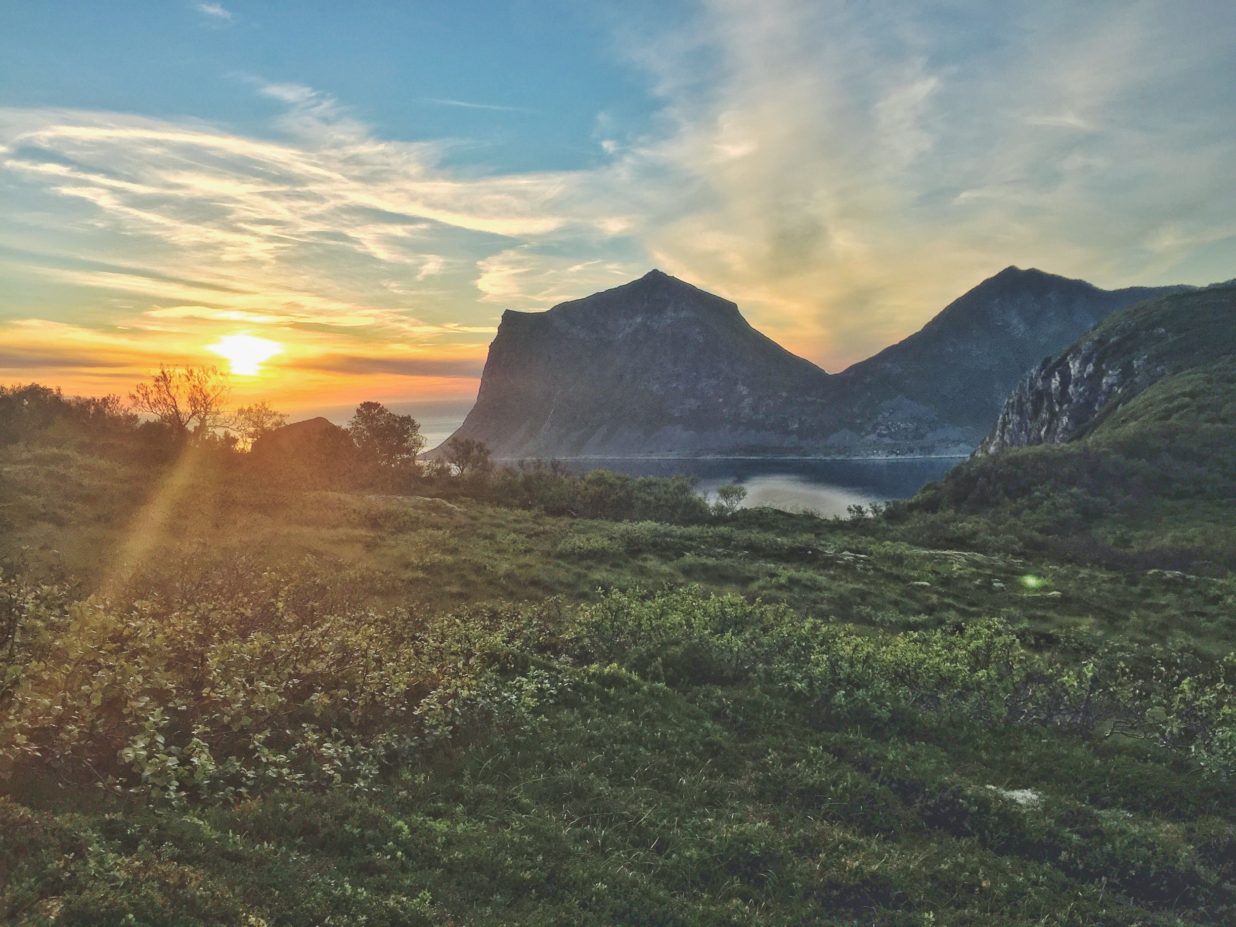 Watching the sunset at Holandsmelen in the Lofoten Islands, Norway.