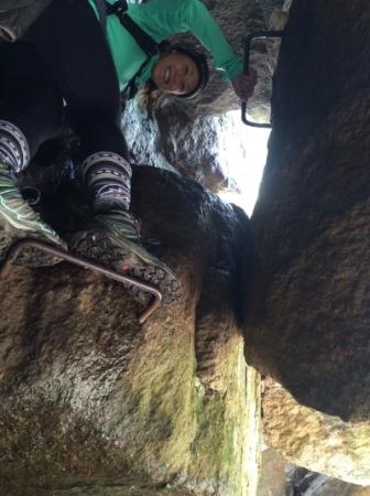 Entering the chimney of Tumbledown Mountain