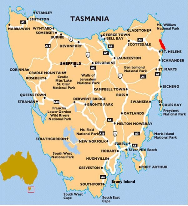 Bay of Fires Map