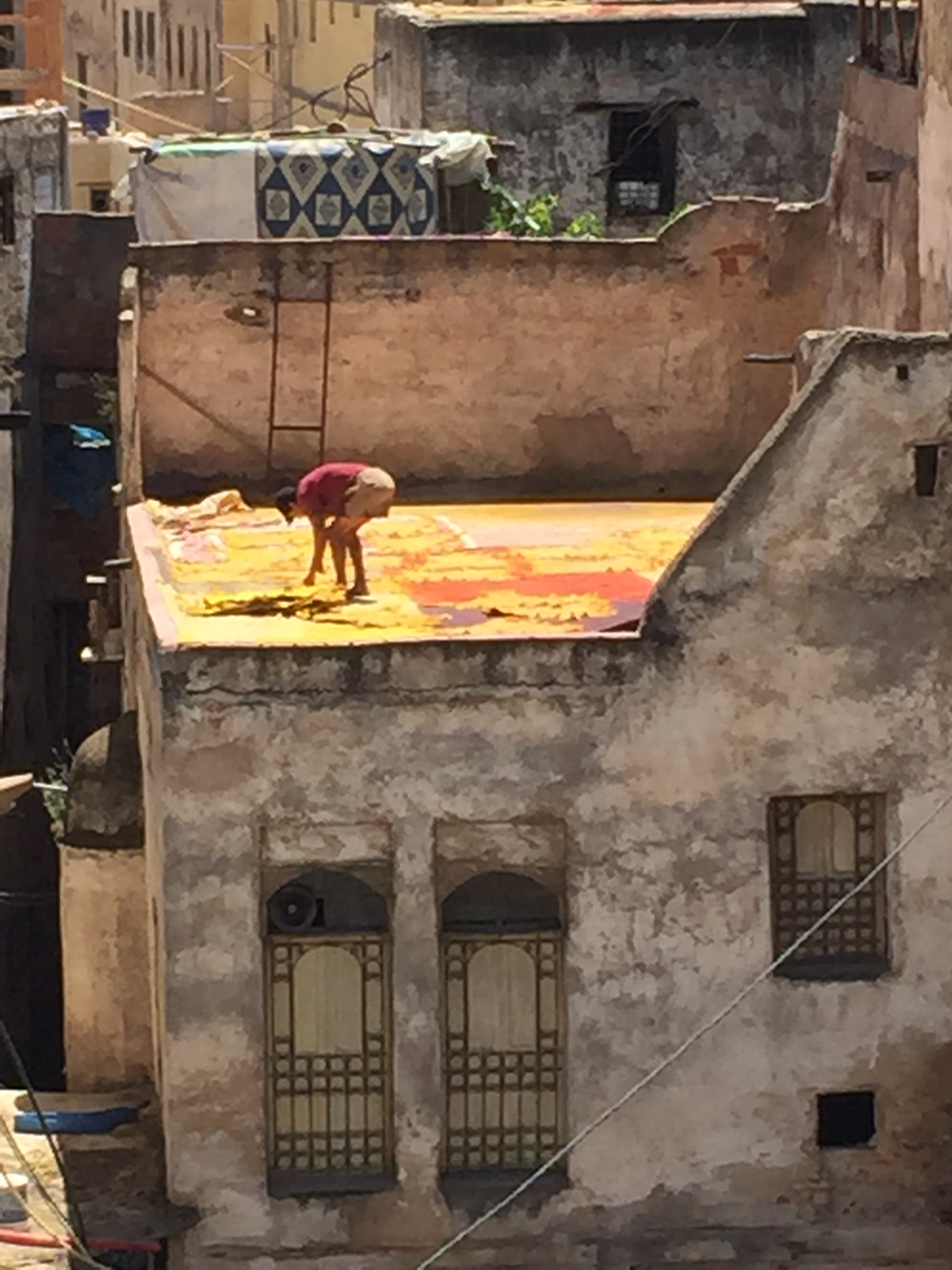 Drying of the skins on the rooftops