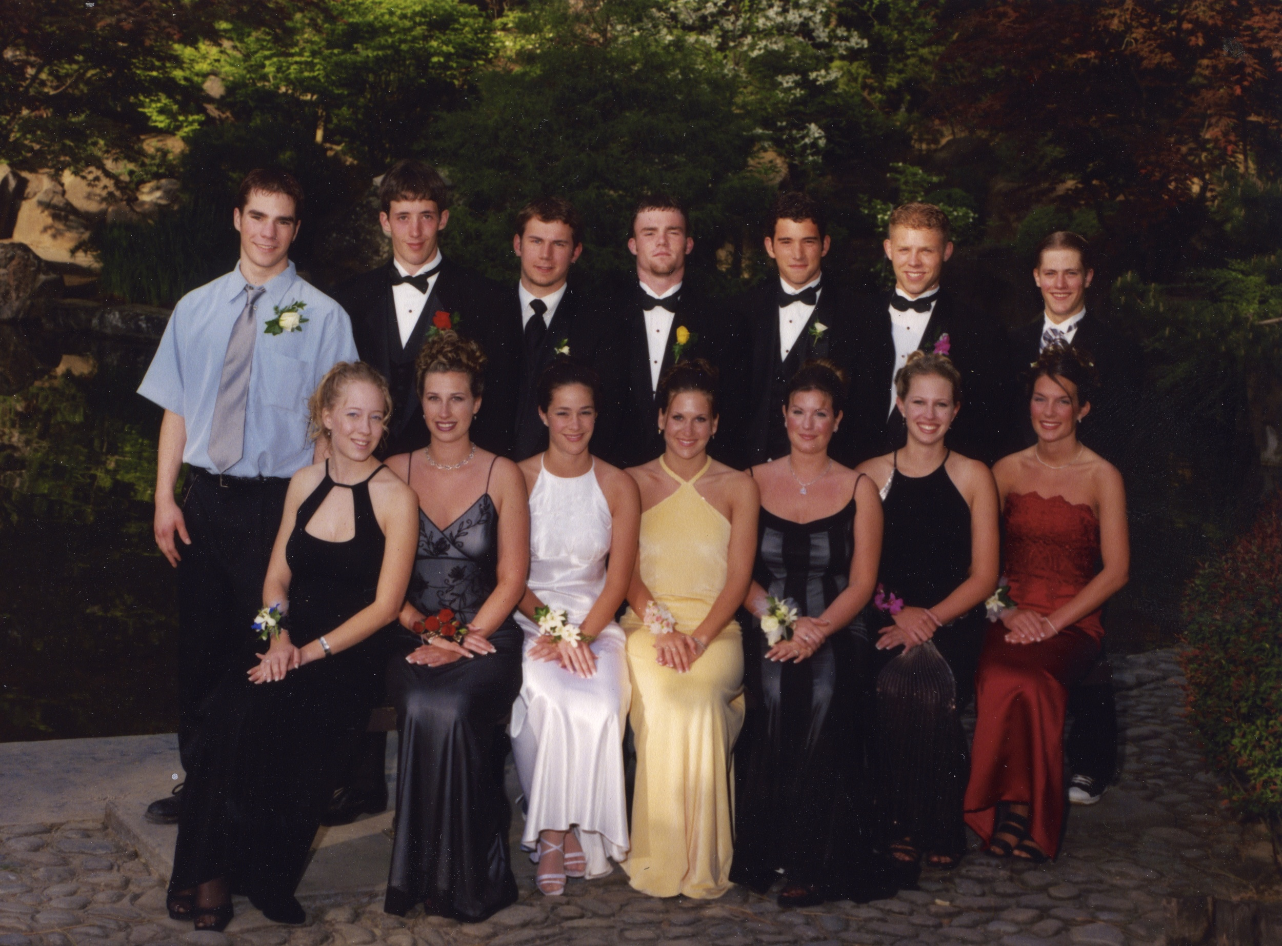 Prom 1998 - Left to Right - Kris Marshall (2/20/79 - 2/23/15) w/ Megan Jankowski, Matt Lumburg w/ Lindsey Tatt, Nick Pontarolo w/ Heather Hawkins, Tim Kestell w/ Erin Quigley, Casey Johnson w/ Katie Hall, Teddy w/ Kelly Cochran, Jeff Parker (8/24/79 - 1/2/15) w/ Chelsey Hendrickson.
