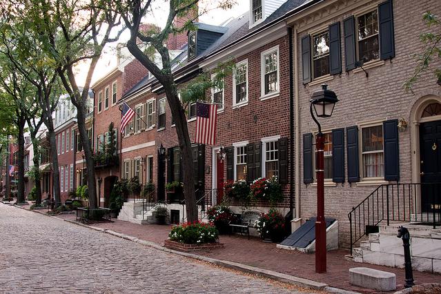 Philadelphia red brick rowhouses