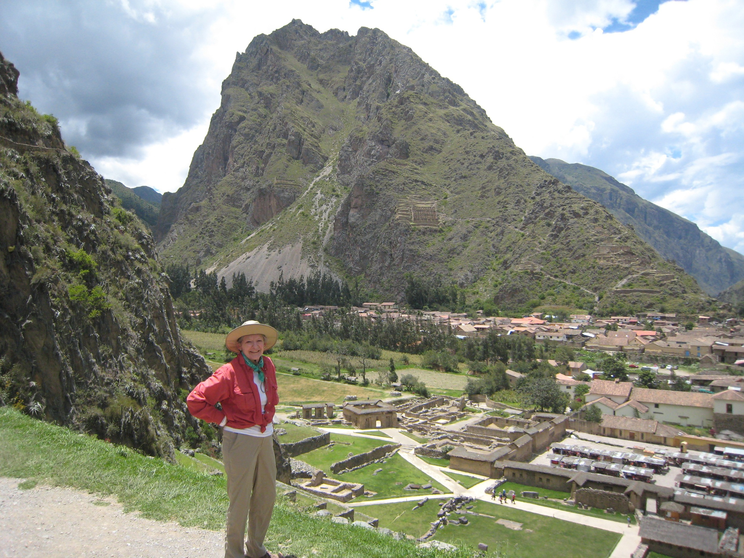 Alice at Ollantaytombo Fortress, the Sacred Valley, Peru