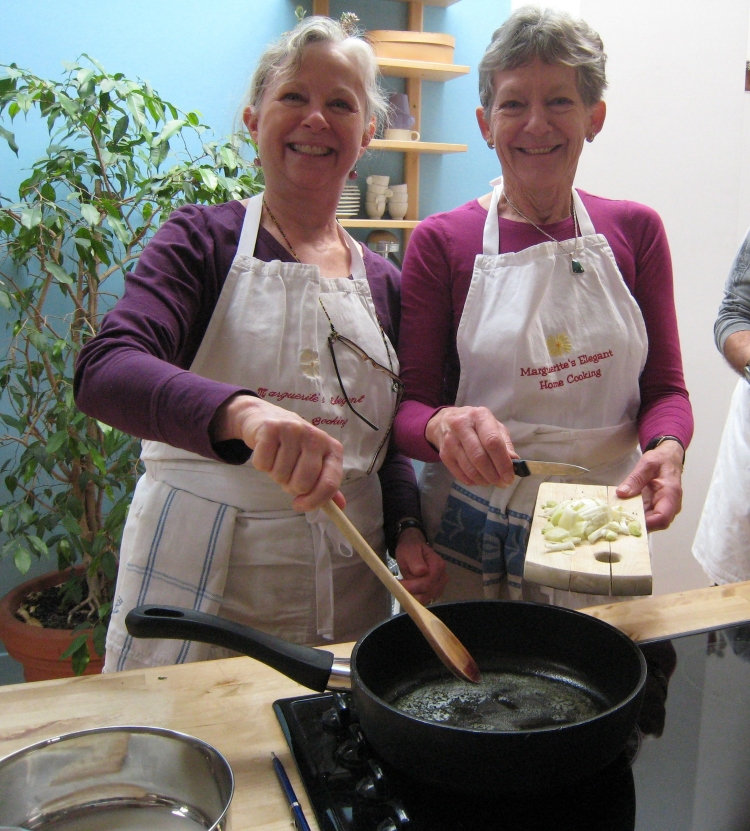 Anne and Alice cooking in Paris