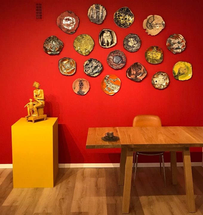 Work by Philip Eglin [left], Ruan Hoffmann [wall pieces] and Wiebke Meurer [on table]