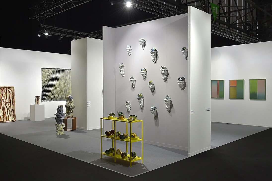 Group exhibition at artgenève 2019 featuring work by [left to right] Marit Tingleff, Alison Britton, Kari Dyrdal, Virginia Leonard, Heidi Bjørgan and Ptolemy Mann.