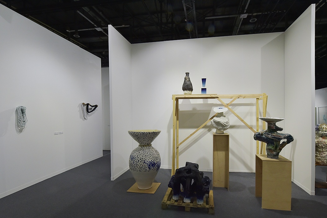 Group exhibition at artgenève 2019 featuring work by [left to right] Pernille Braun and Johannes Nagel.