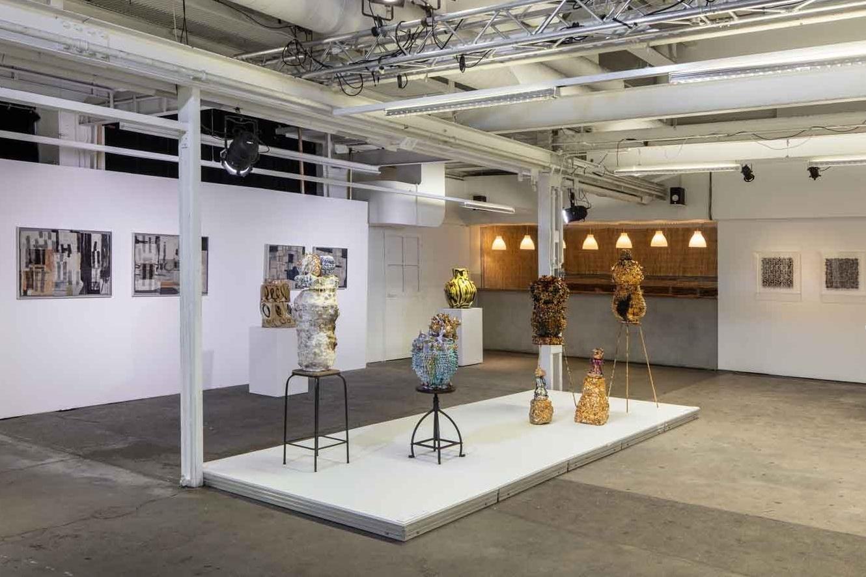 left to right: work by Matthew Harris, Philip Eglin, Virginia Leonard and Michael Brennand-Wood