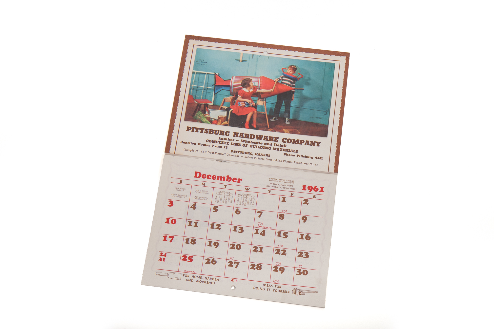Calendar – Illustration of Boy and Girl with Homemade Rocket (1961)