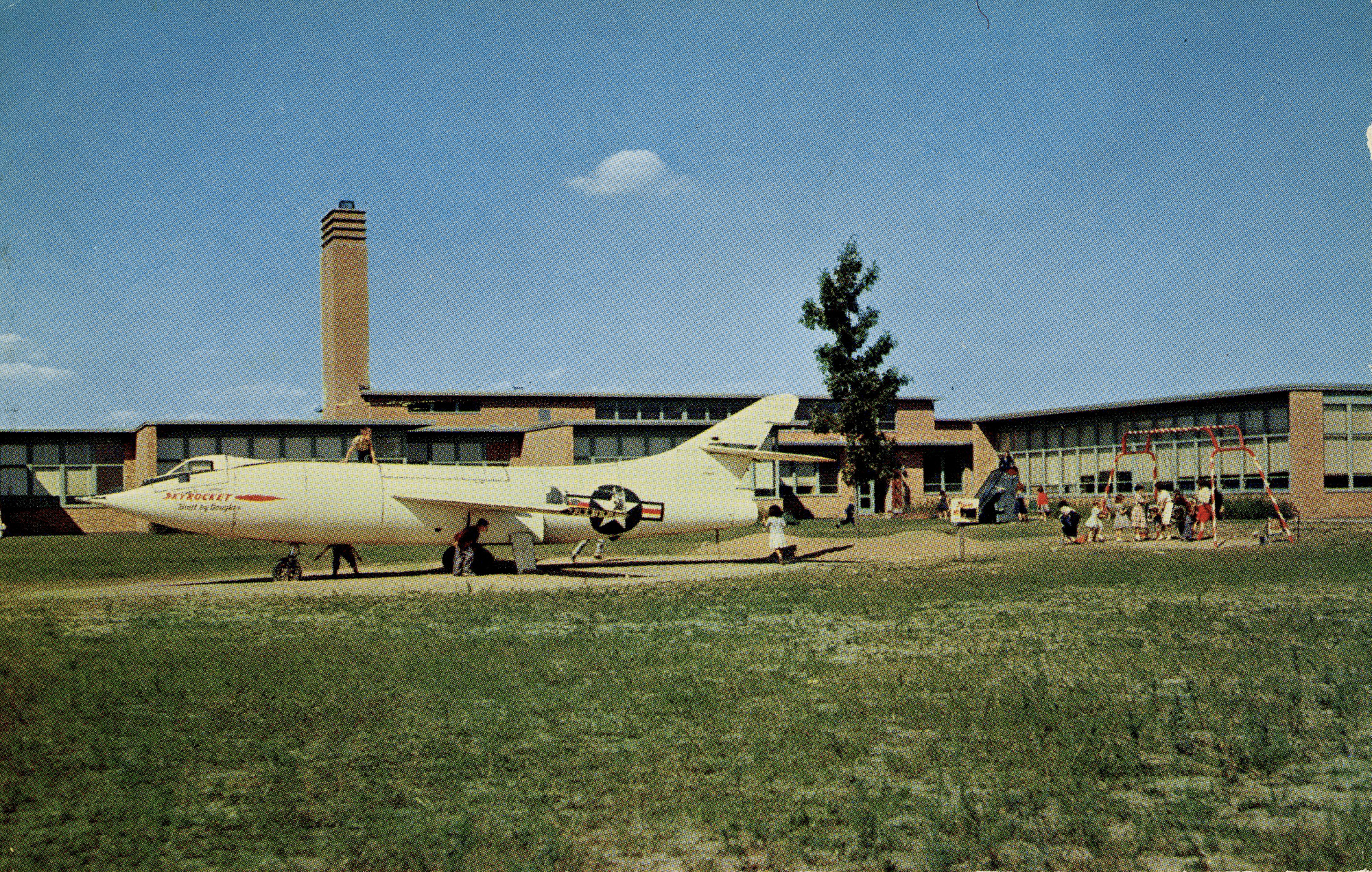 Vintage Postcard showing Static Test Model of Douglas Skyrocket D-558-2 in Schoolyard at Walt Disney Elementary School in Levittown, PA (circa 1965)