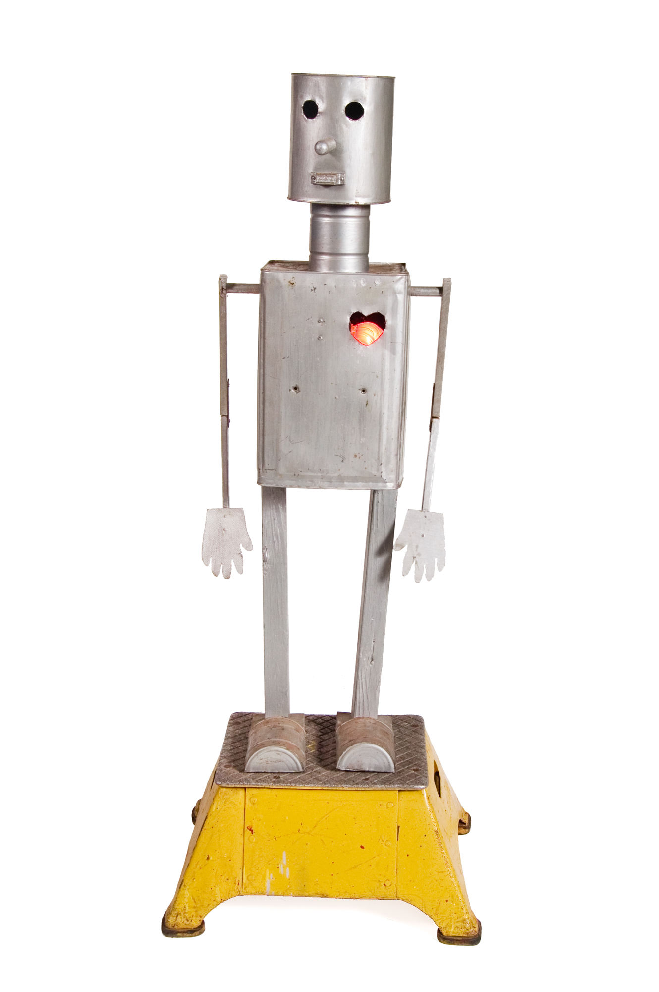 Folk Art Robot – Tin Containers and Wood (American circa 1960) - Height 3'9""