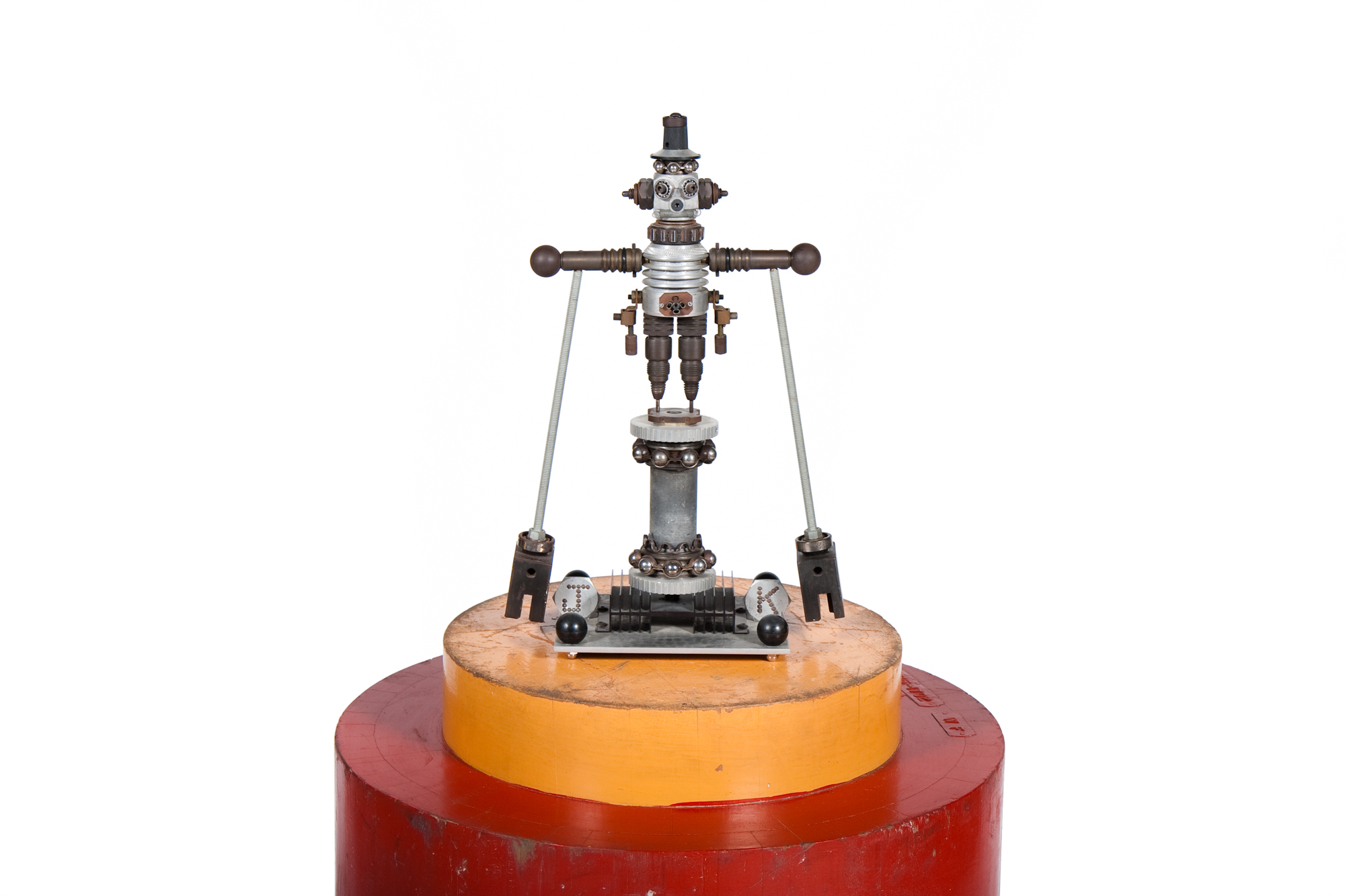 Folk Art – Machine Shop Pen Holder Featuring a Balancing Robot with Rayguns (circa 1960)