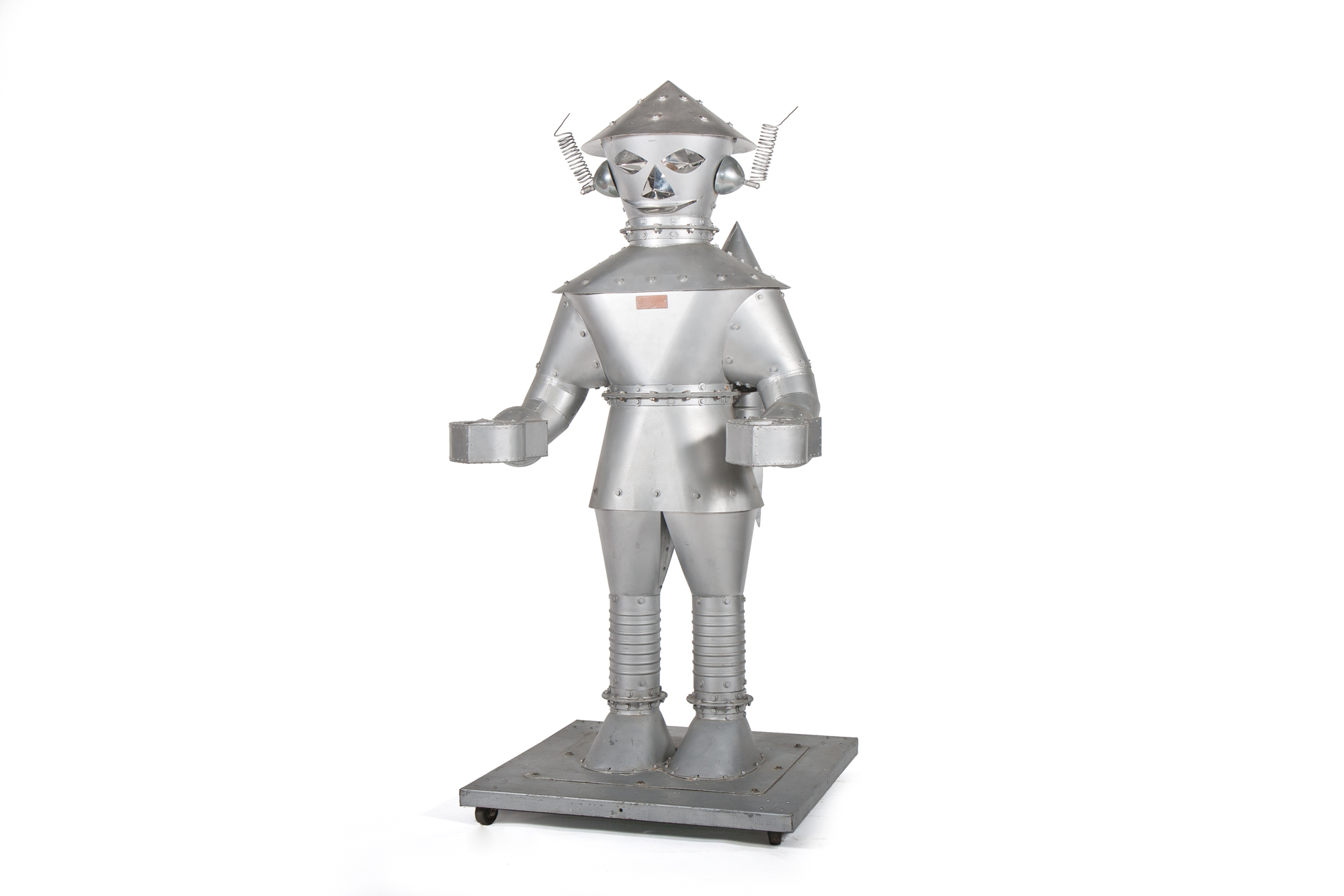 Robot Spaceman signed by Howard Schmidt, Master Metalsmith.  Built to hold his mailbox (Western New York circa 1973) - Height 7'0""