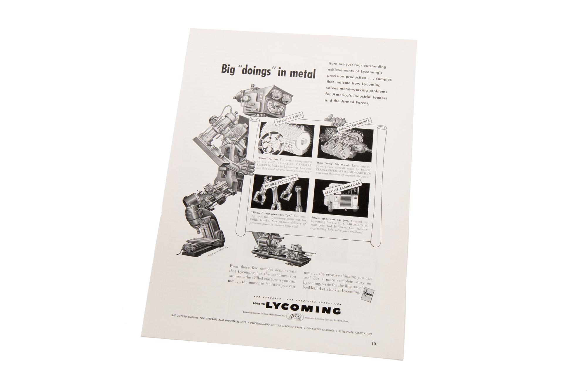 Magazine Advertisement – Lycoming (Illustration by Artzy Basheff circa 1953)