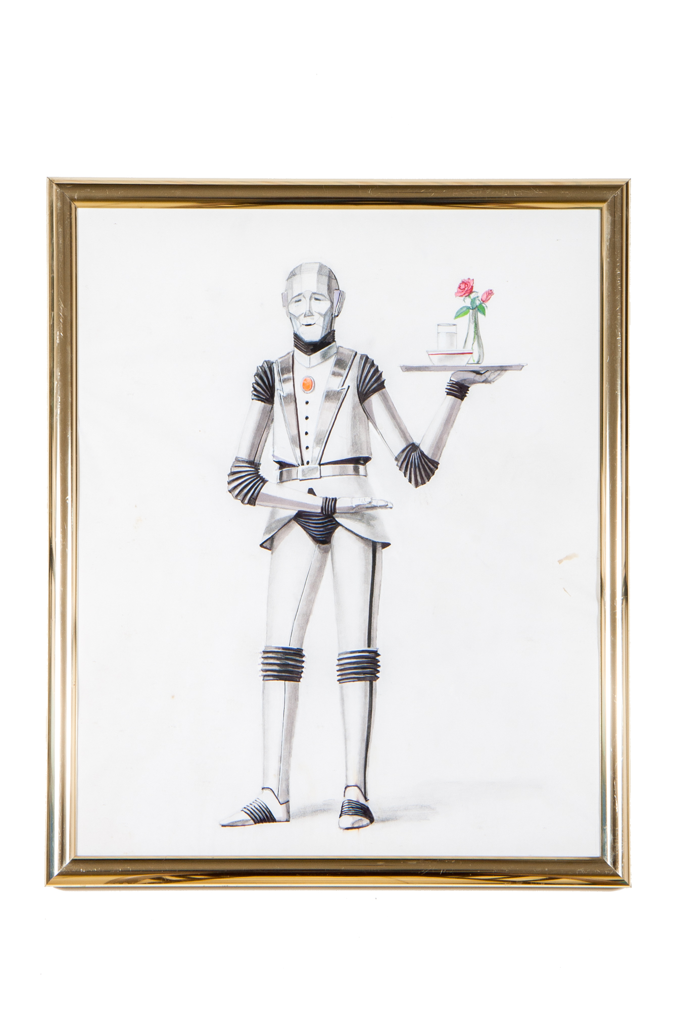 Drawing of Robot Butler with Rose – Pencil & Ink (unsigned circa 1980)