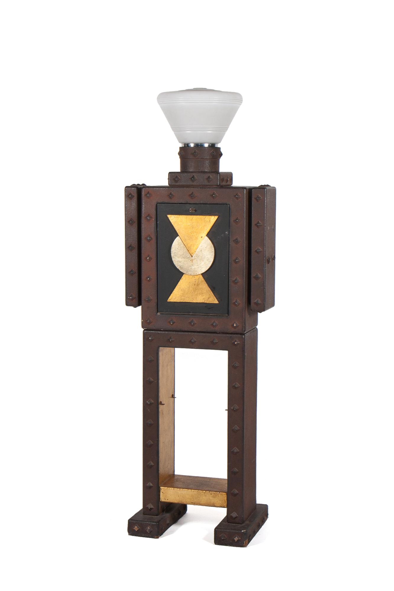 "Lamp with Cabinet Bar – Art Deco Robot Motif (circa 1958) - Height 6'0"""