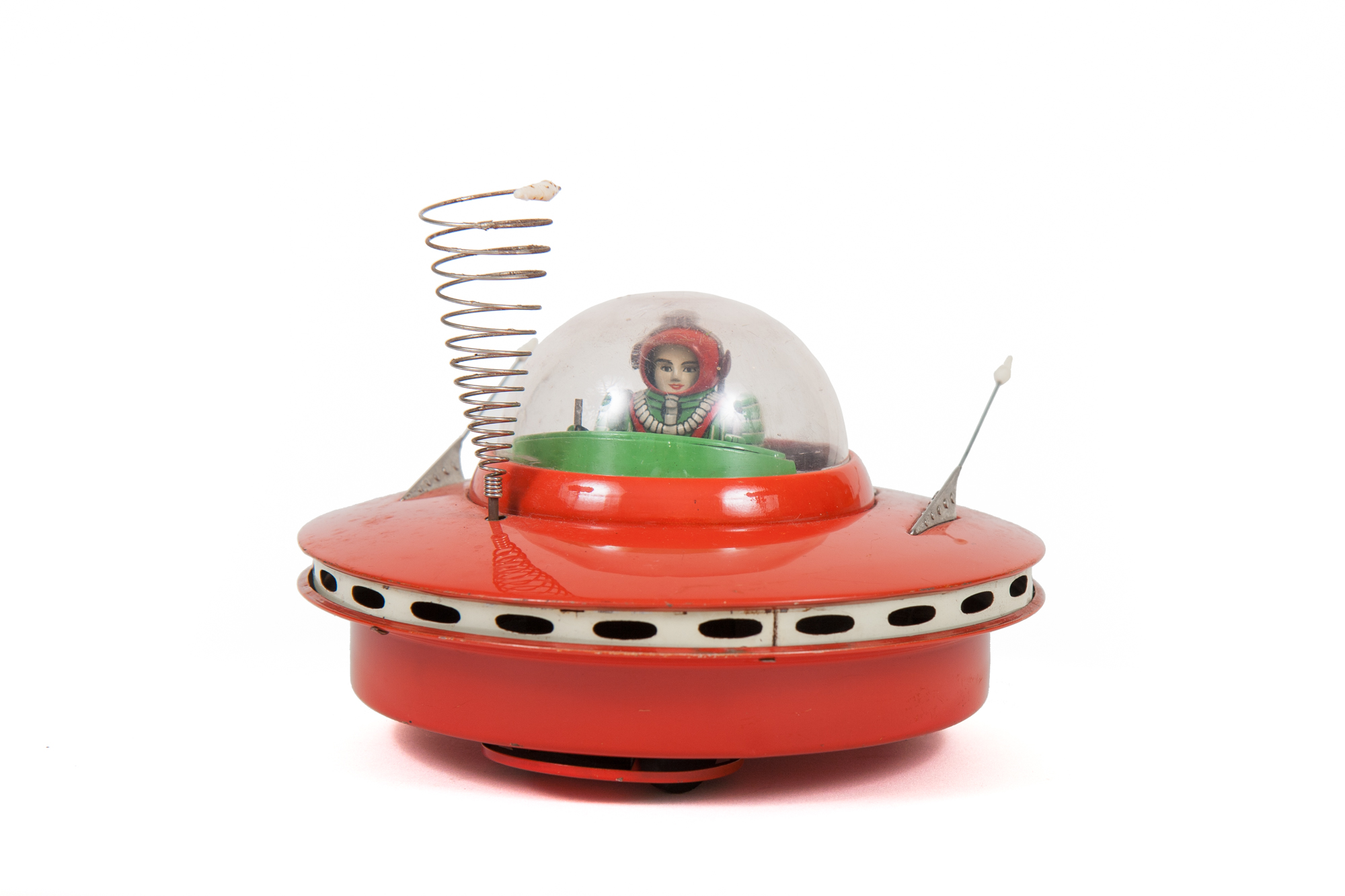 Flying Saucer with Space Pilot Tin Toy (Cragston-Yoshiya Japan circa 1959)