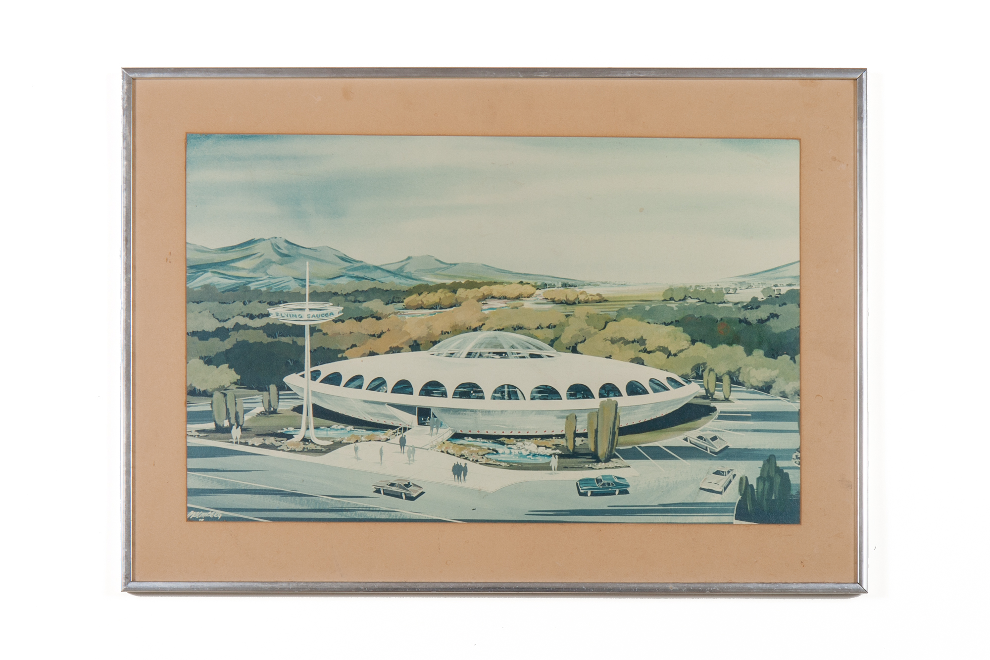 Architectural Concept Painting: Flying Saucer Restaurant by MacMberg (1970) watercolor