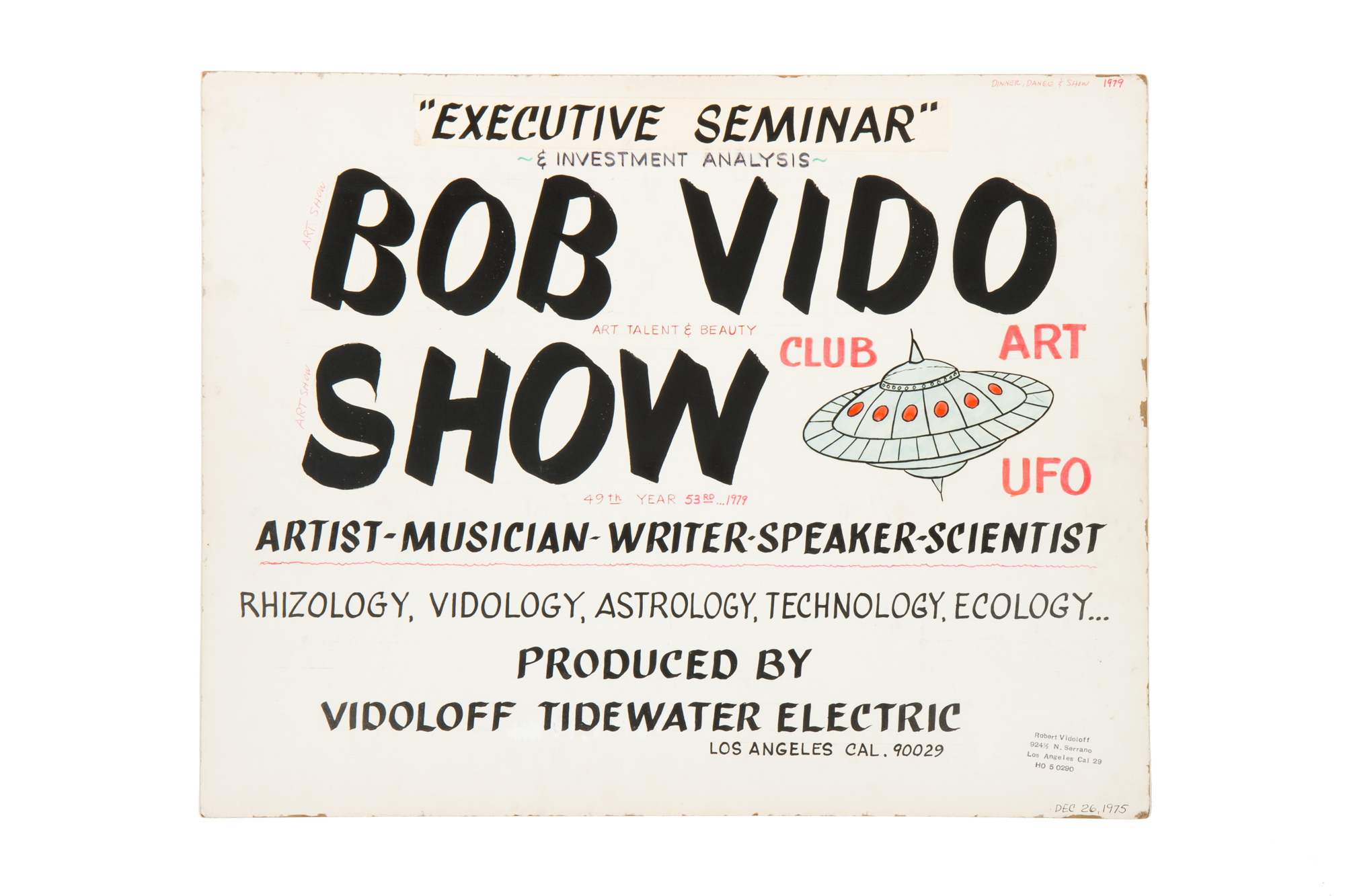"Promotional Poster for ""Bob Vido Show"" on Back of Painting by Robert Vidoloff (1975)"