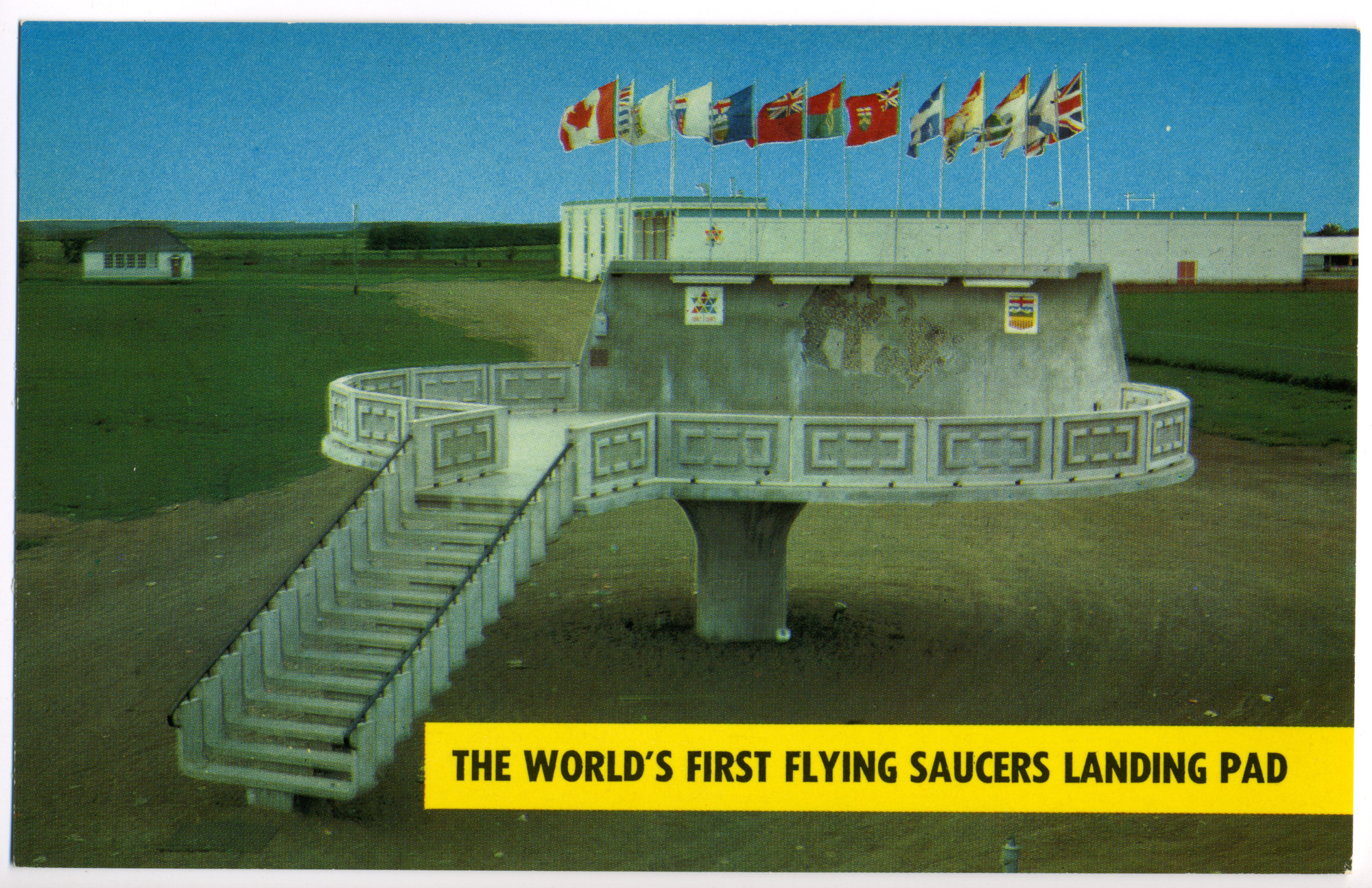 World's First Flying Saucer Landing Pad - (Alberta, Canada Postcard circa 1967)