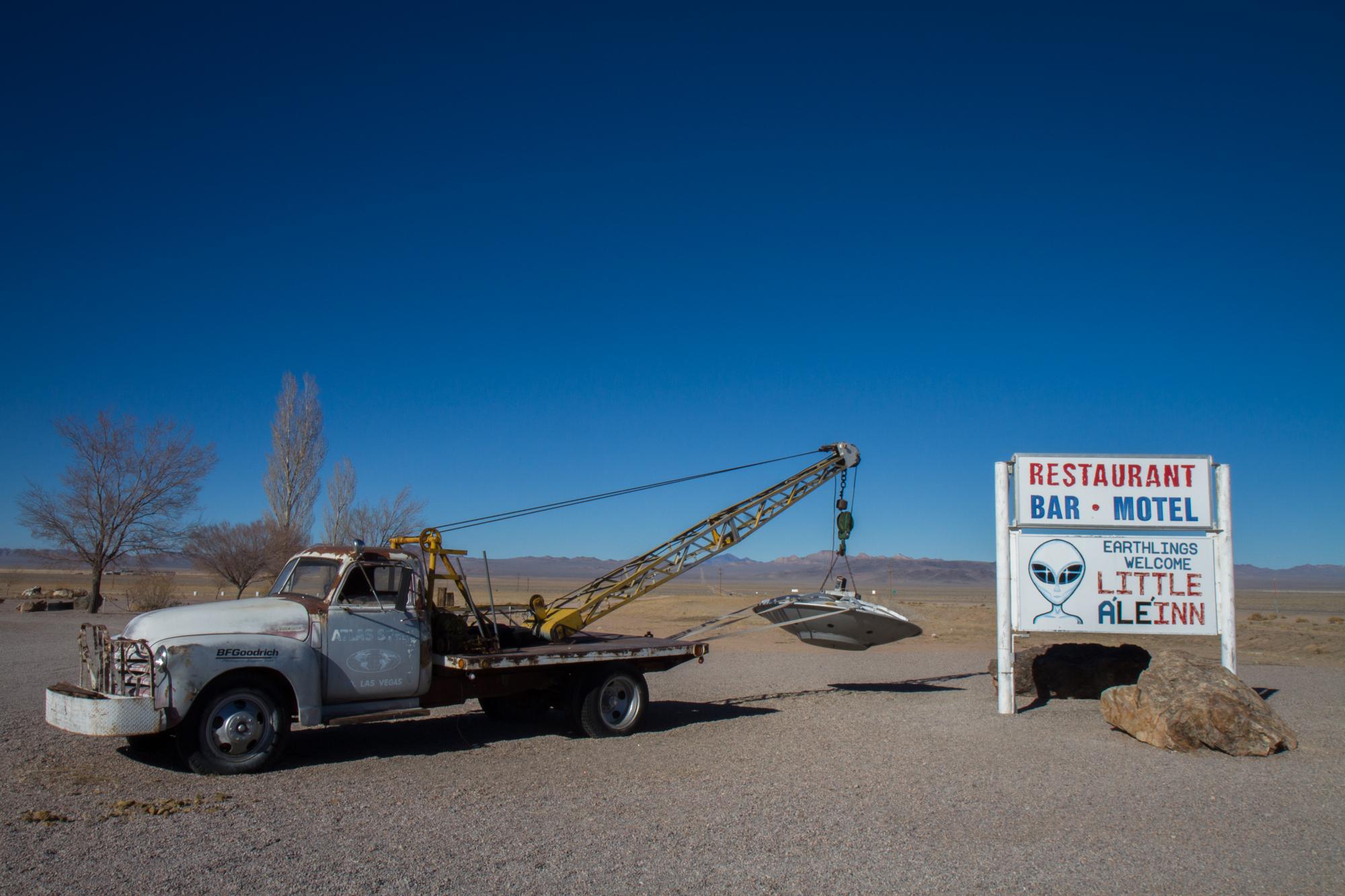 "Restaurant, Bar and Motel Sign - ""Little A'LE'INN""  (Nevada) - Photo by Peter Kleeman 2012"