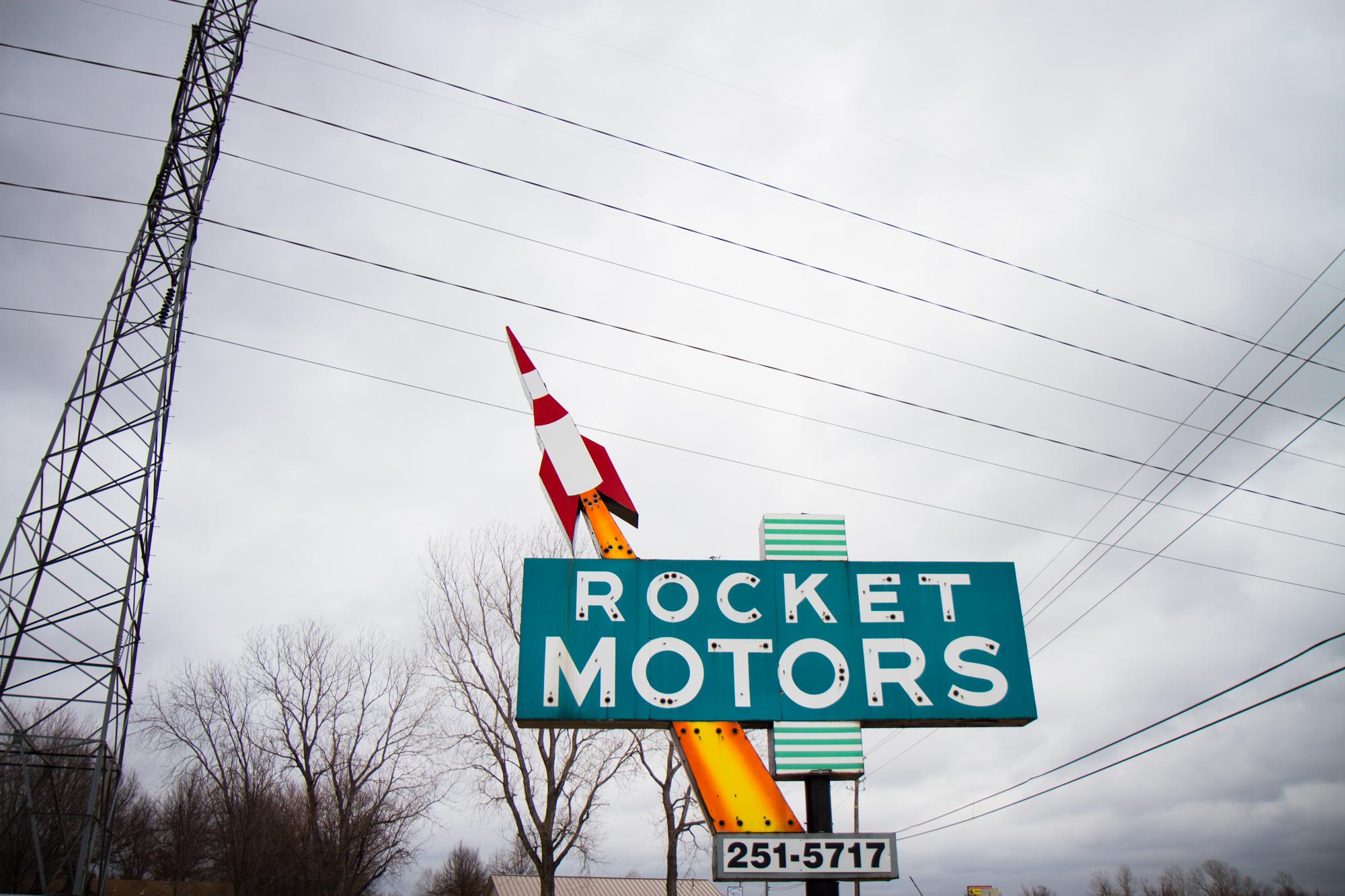 "Neon Sign - ""Rocket Motors"" (Oklahoma circa 1960) - Photo by Peter Kleeman 2012"