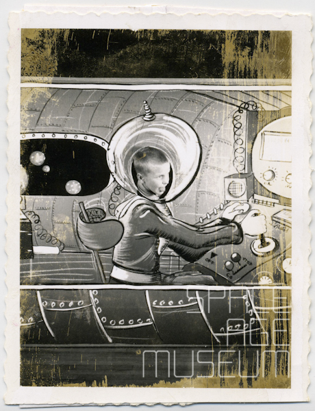 Boy in Photo-Op Spaceship Cockpit at School Fair (1954)