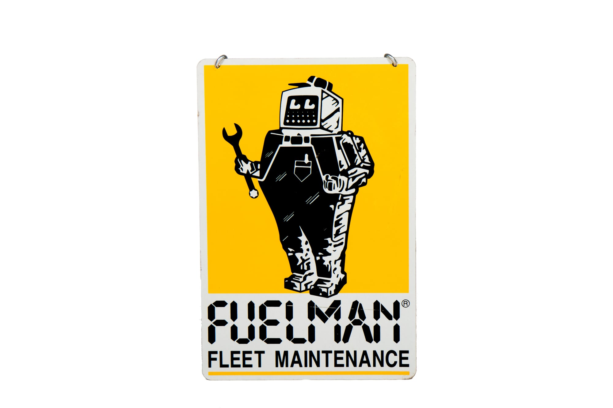 "Gas Station Sign - ""Fuelman"" Robot (Circa 1985) 24"" x 16"""