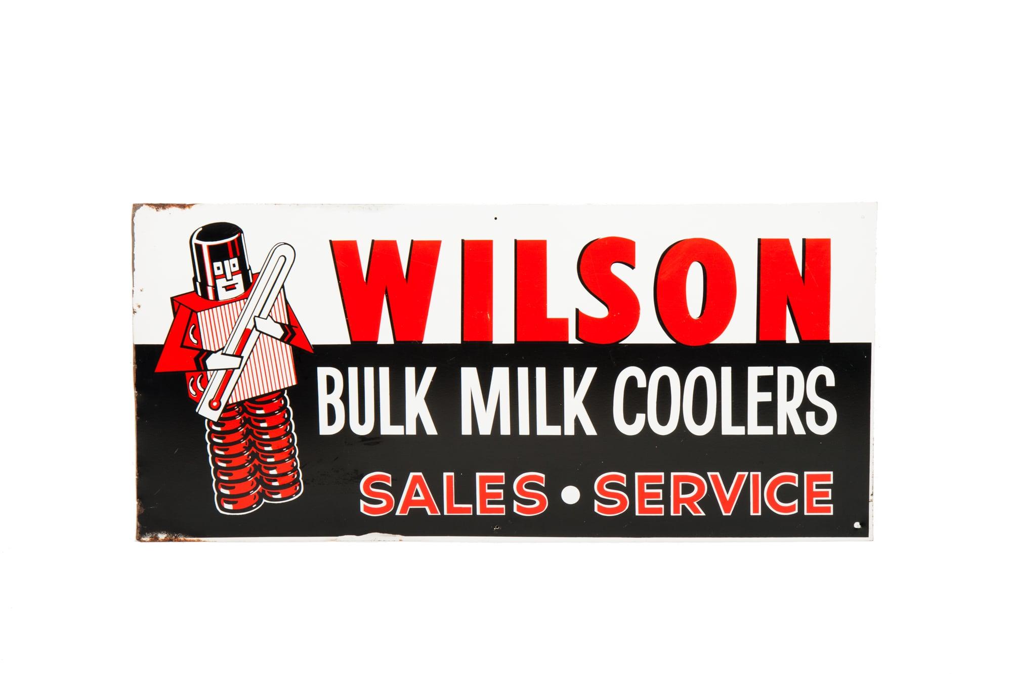 "Porcelain Sign - ""Wilson Bulk Milk Coolers"" (circa 1965) 39"" x 18"""