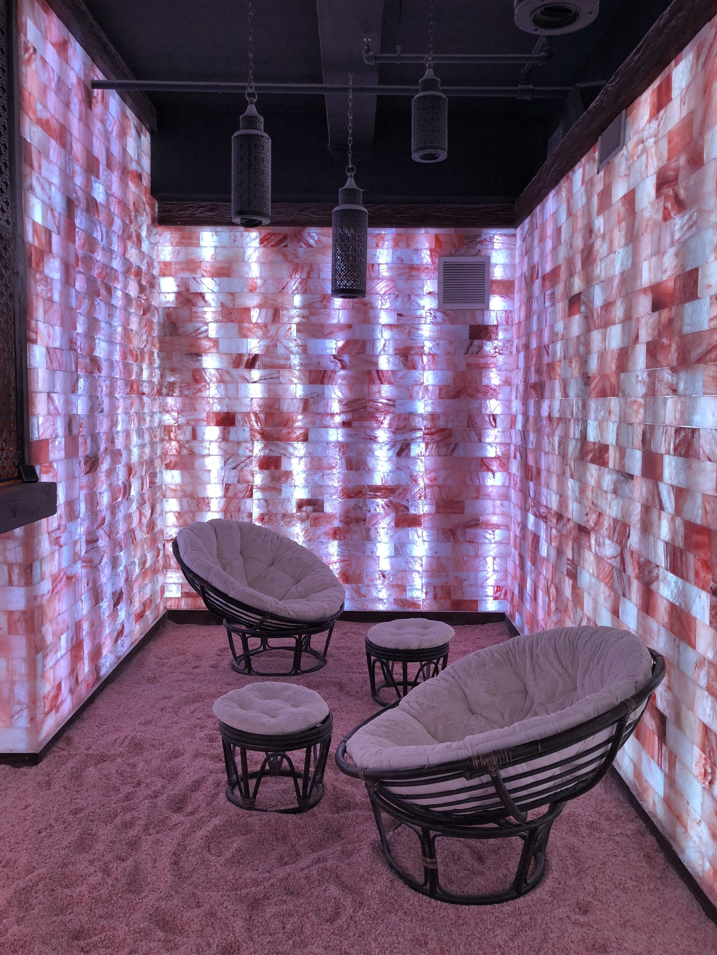 Salt therapy, also called halotherapy, is a holistic method that reproduces the natural micro climate of a salt cave by dispersing saline aerosol in a high concentration in a room whose surfaces are covered with layers of salt.