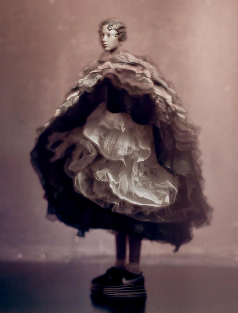 Model Sara Grace Wallerstedt in a  Rorschach-esque Comme des Garçons  style for DAZED magazine, Autumn 2018.