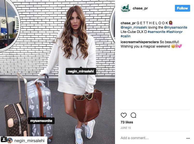 Dutch influencer @neginmirsalehi has collaborated with luggage company, Samsonite.