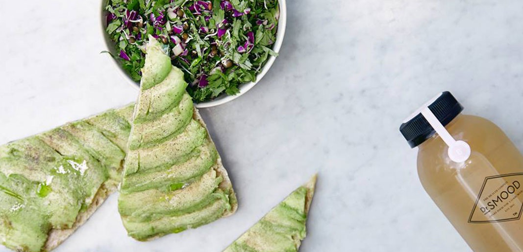 Classic Avocado Toast and Kale Works Salad at Dr Smood