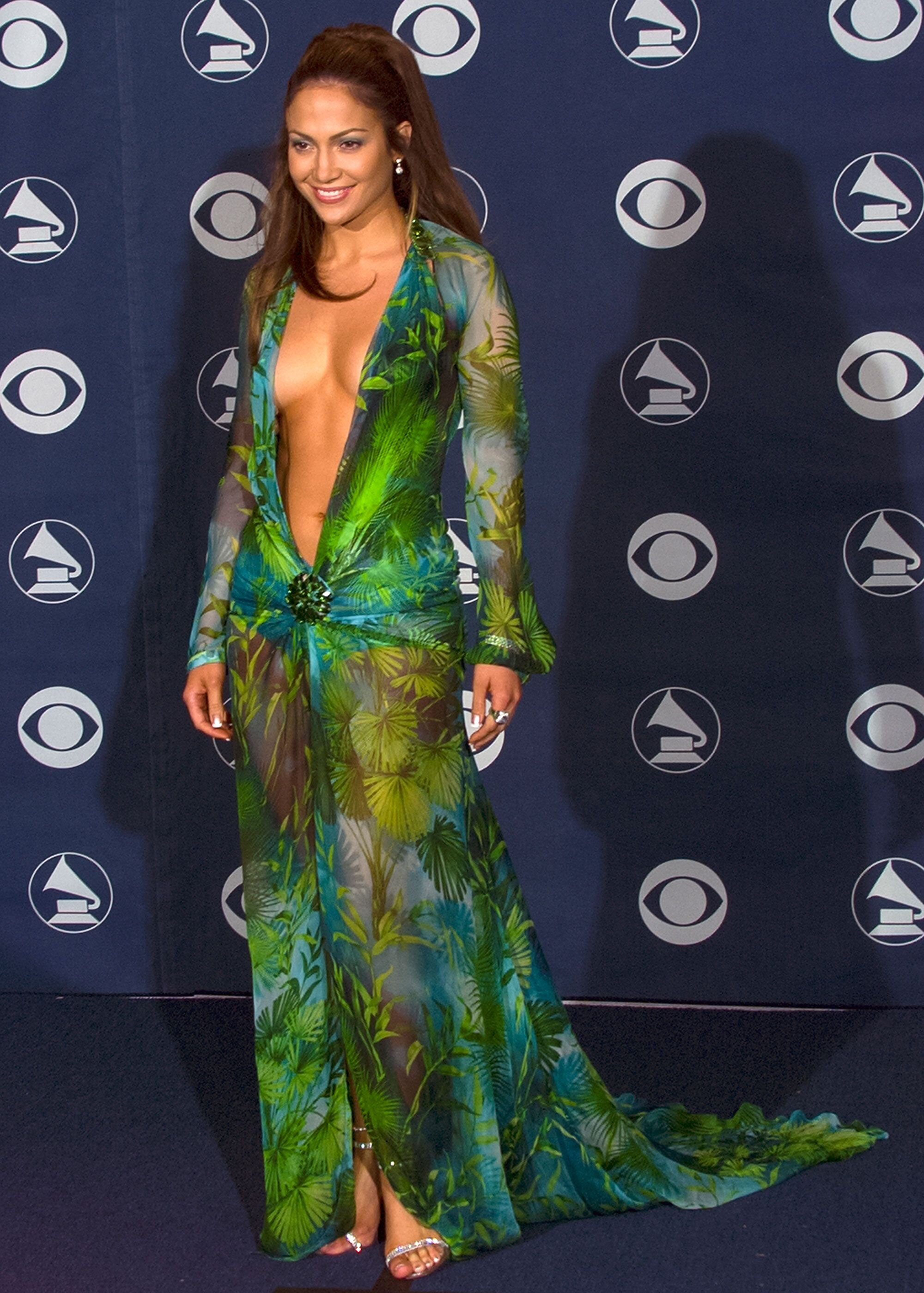 Jennifer Lopez at the Grammys in 2000, wearing the infamous Versace jungle dress that led to the creation of Google Images.