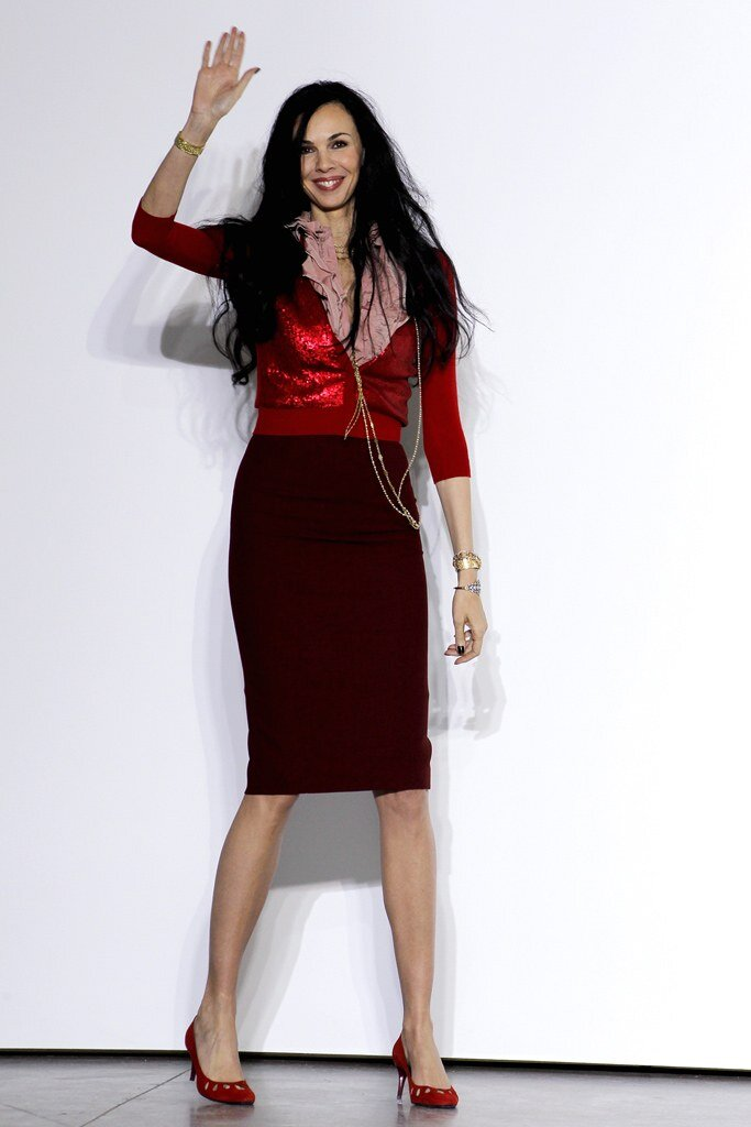 The late designer L'Wren Scott sternly favored the straight silhouettes which underpinned her collections.