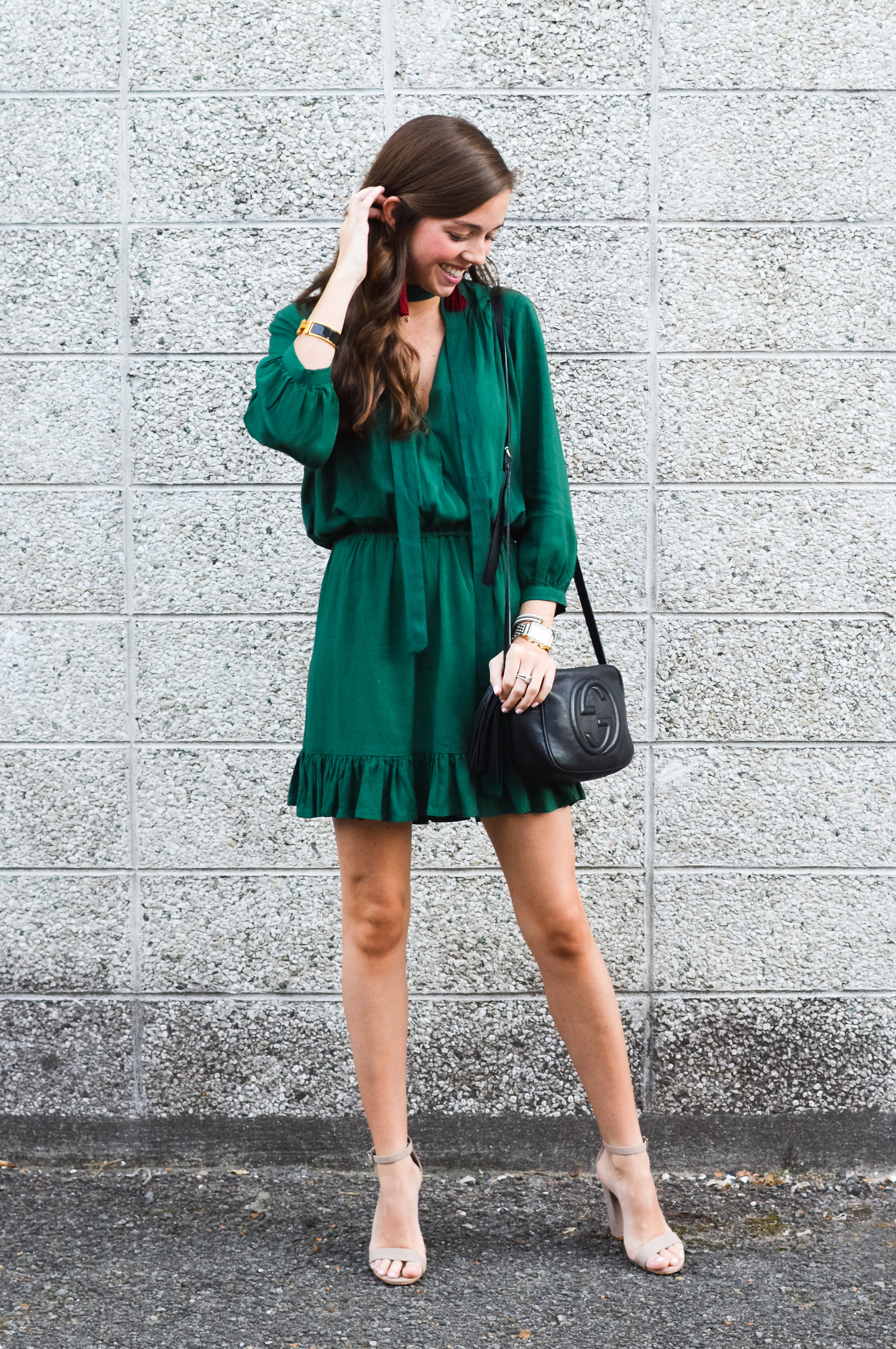 fashion blogger lcb style green dress tassel earring  (1 of 30).jpg